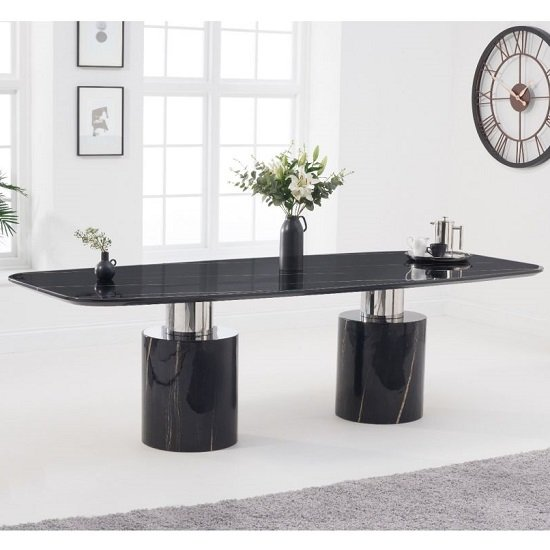 Benitez Marble Oval Top Dining Table In Black Finish