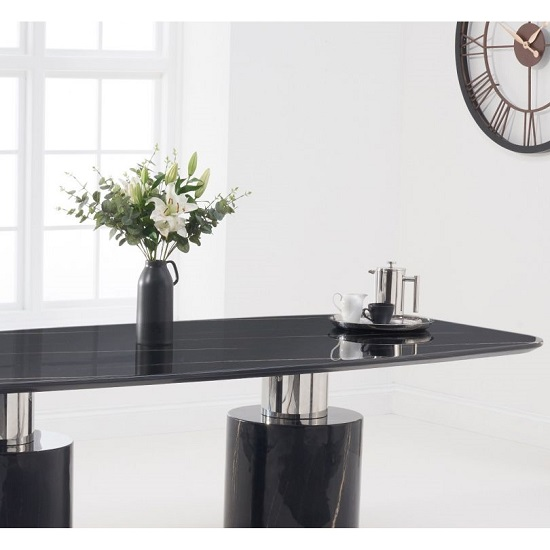 Benitez Marble Oval Top Dining Table In Black Finish_3
