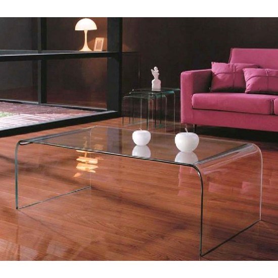 Cascade Bent Gl Coffee Table In Clear