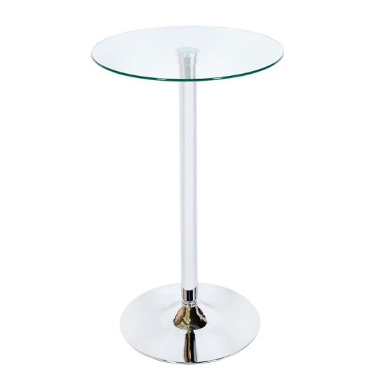 Bente Bar Table In Clear Glass And Chrome Base