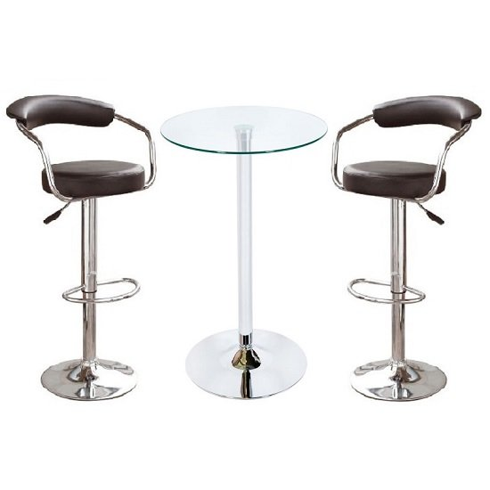 Bente Glass Bar Table In Clear With 2 Zenith Black Bar