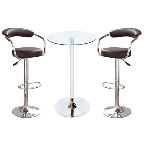 Glass Bar Stools: Bente Glass Bar Table In Clear With 2 Zenith Black Bar