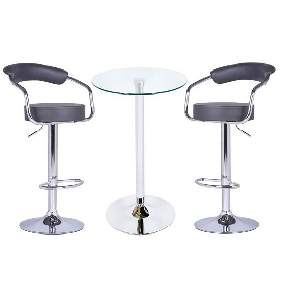 Glass Bar Stools: Bente Glass Bar Table In Clear With 2 Zenith Grey Bar