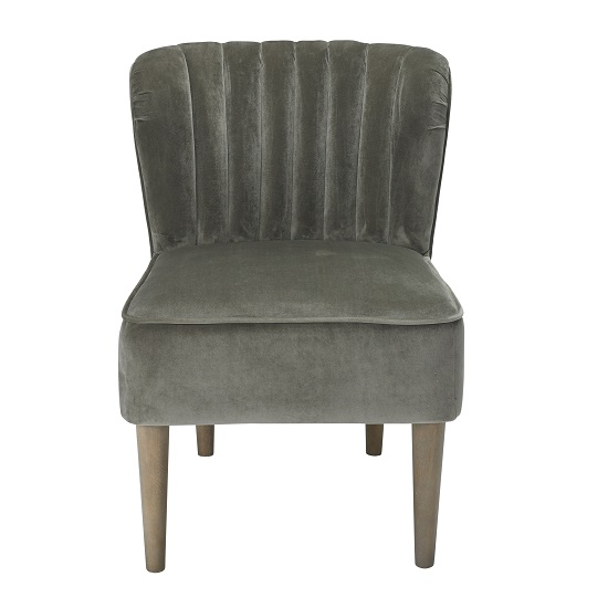 Bentley Sofa Chair In Steel Grey Velvet With Wooden Legs_2