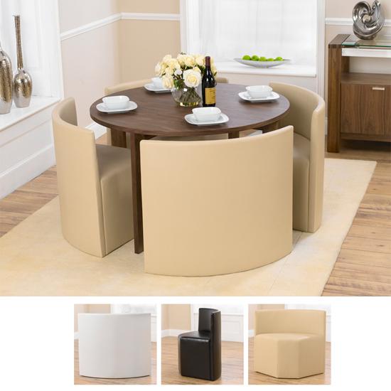 Bentley Furniture: Marbella Round Walnut Dining Table And 4 Cream Bentley