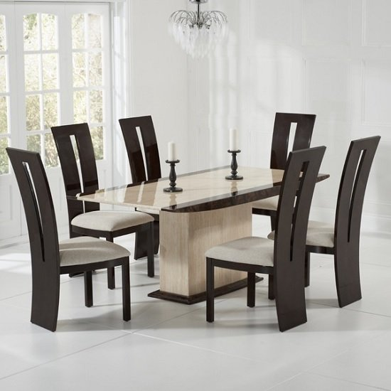 Bentley Marble Dining Table Cream Brown With 6 Ophelia Chairs
