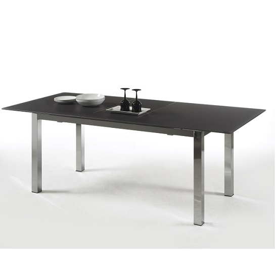 Bentini extending dining table large black glass 25462 for Large black dining room table