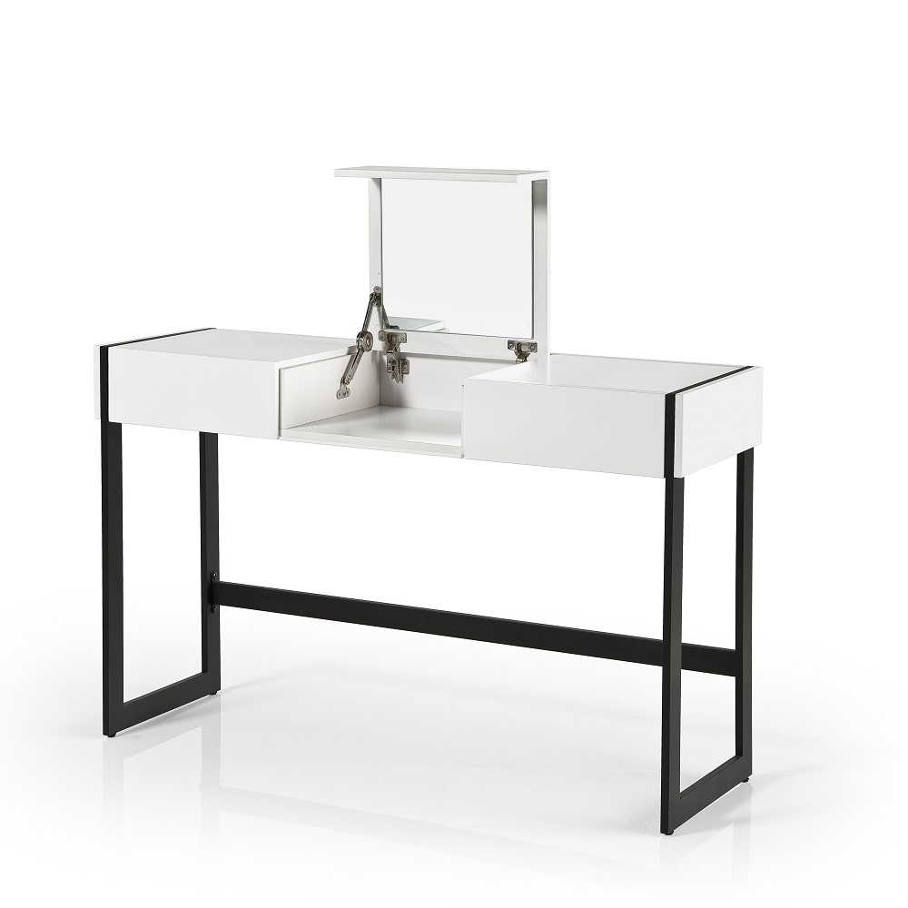 Bento Console Desk With Mirror In White With Black Metal
