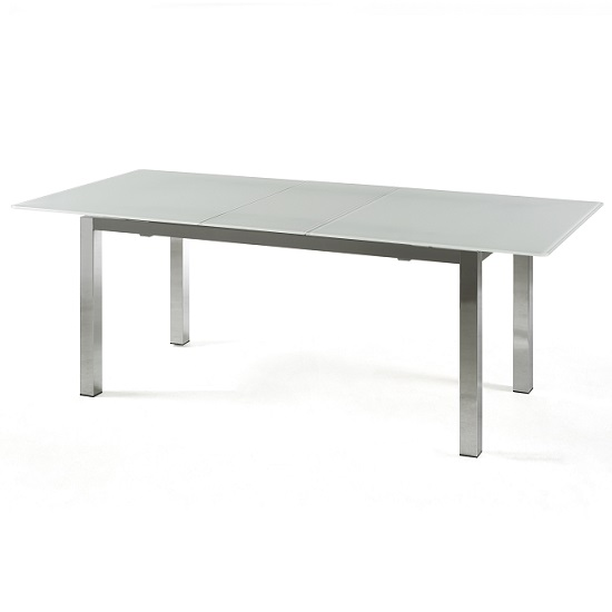 Bentini Extending Dining Table Large White Frosted Glass