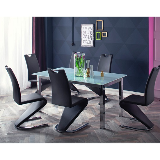Bentini Glass Extending Dining Table In White With 6 Chairs