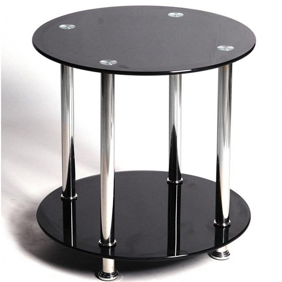 Benton Black Glass Lamp Table With Stainless Steel Legs