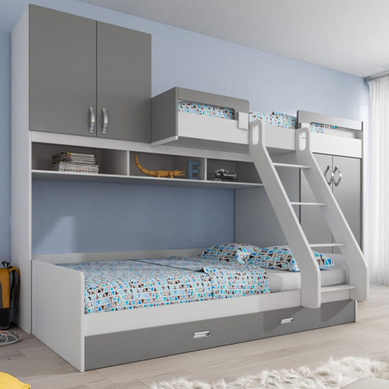 Bereave Wooden Bunk Bed In White And Grey