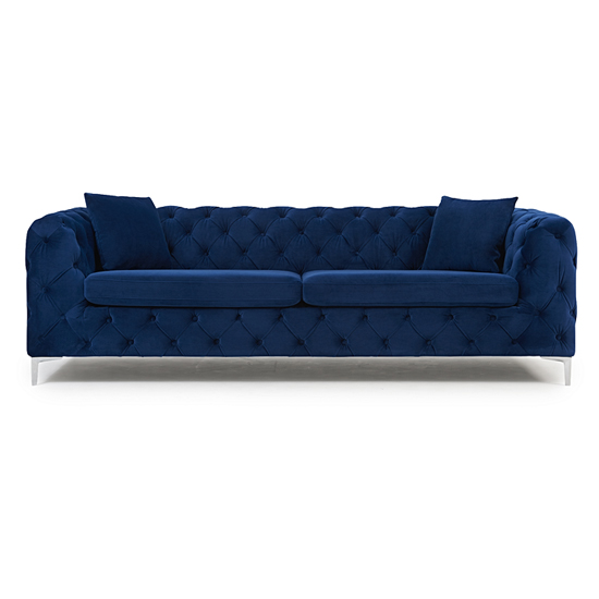 Berenices Plush Fabric 3 Seater Sofa In Blue_2