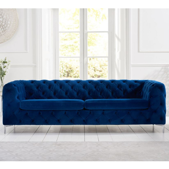 Berenices Plush Fabric 3 Seater Sofa In Blue
