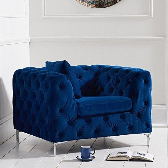 Berenices Velvet Lounge Chaise Armchair In Blue Plush