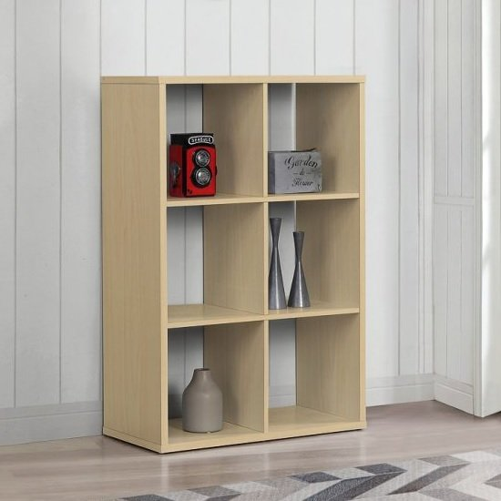 Product photograph showing Bergen Shelving Unit In Beech With 6 Open Compartments