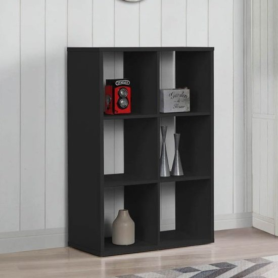 Product photograph showing Bergen Shelving Unit In Black With 6 Open Compartments