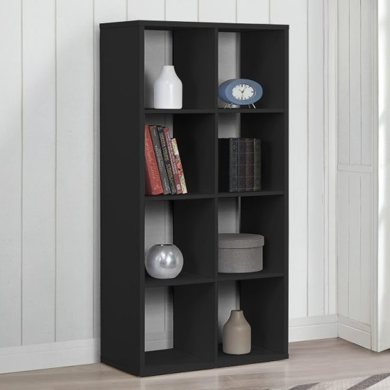 Product photograph showing Bergen Shelving Unit In Black With 8 Open Compartments
