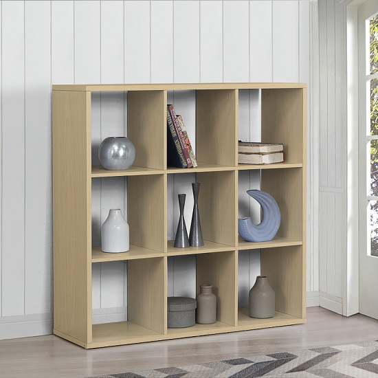 Product photograph showing Bergen Shelving Unit Wide In Beech With 9 Open Compartments