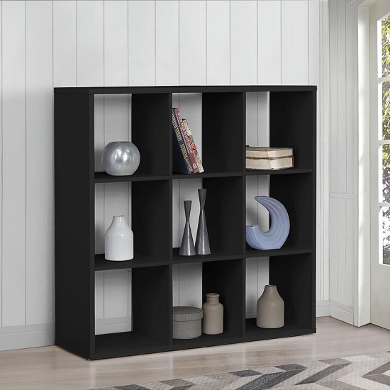 Product photograph showing Bergen Shelving Unit Wide In Black With 9 Open Compartments