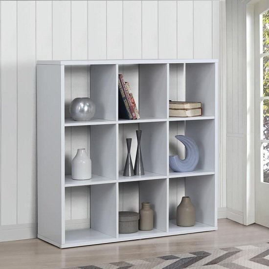 Product photograph showing Bergen Shelving Unit Wide In White With 9 Open Compartments