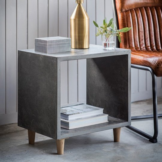 Bergen Cube Lamp Table In Faux Concrete