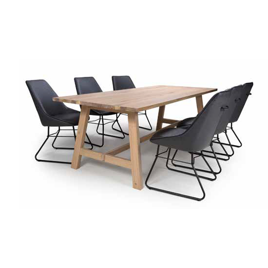 Bergen Dining Set With 6 Grey Cooper Chairs