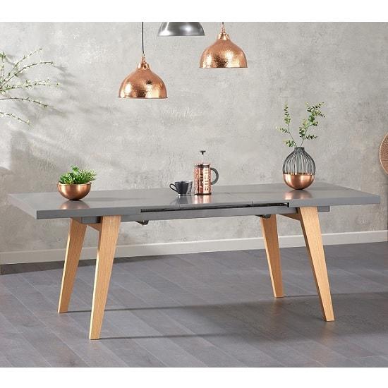 Bergen Extendable Dining Table In Matt Grey With Oak Legs