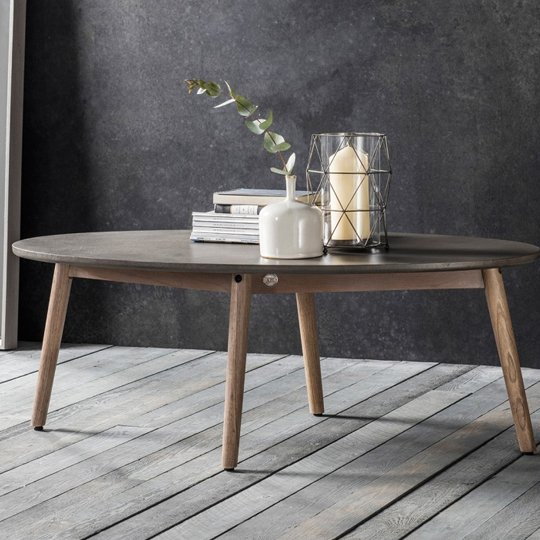 Bergen Oval Coffee Table With Scandi Weathered Legs