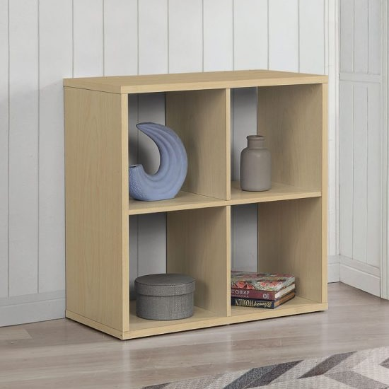 Product photograph showing Bergen Shelving Unit In Beech With 4 Open Compartments