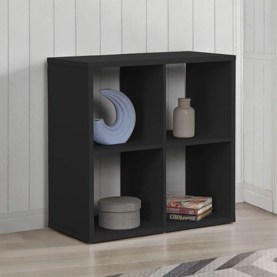 Product photograph showing Bergen Shelving Unit In Black With 4 Open Compartments