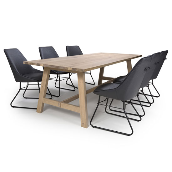 Bergen Wooden Dining Set With 6 Grey Cooper Chairs