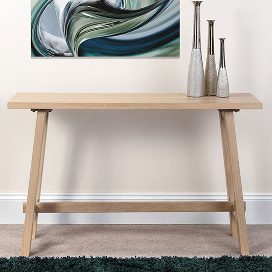 Bergen Wooden Rectangle Console Table In Light Oak