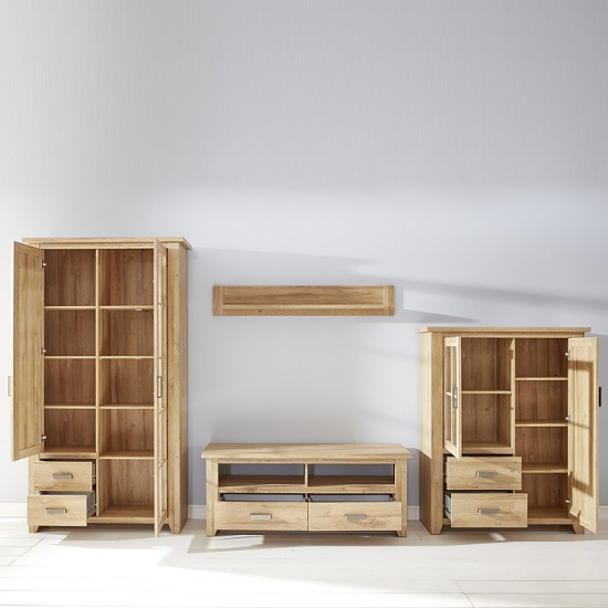 Berger Wooden Living Room Set 1 In Rustic Oak With LED_2