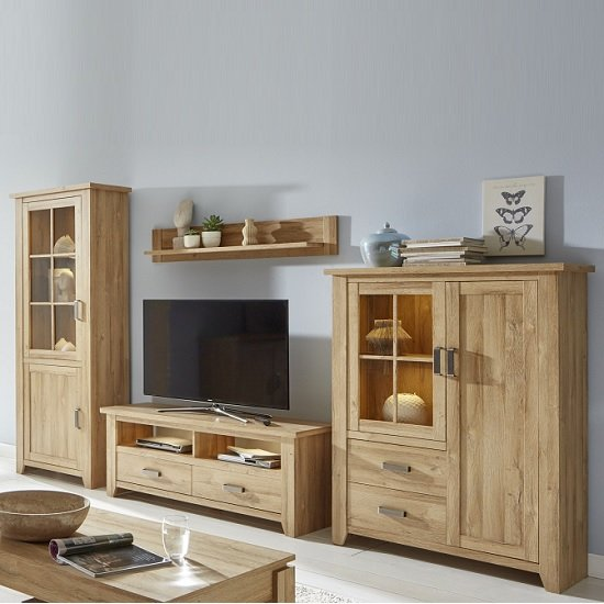 Berger Wooden Living Room Set In Rustic Oak With LED Lighting