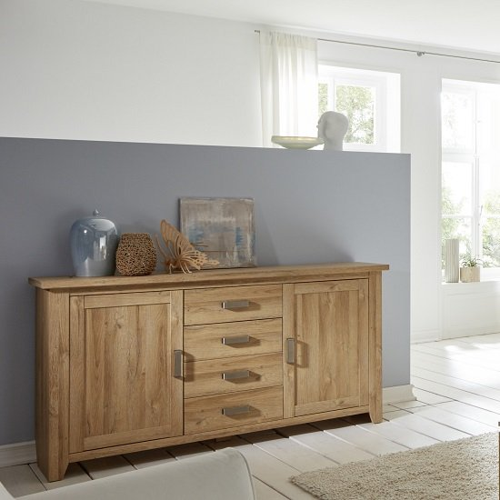 Berger Wooden Sideboard In Rustic Oak With 2 Doors