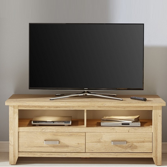 Berger Wooden TV Stand In Rustic Oak And LED Lighting_1