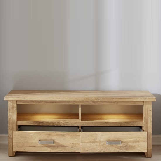 Berger Wooden TV Stand In Rustic Oak And LED Lighting_2
