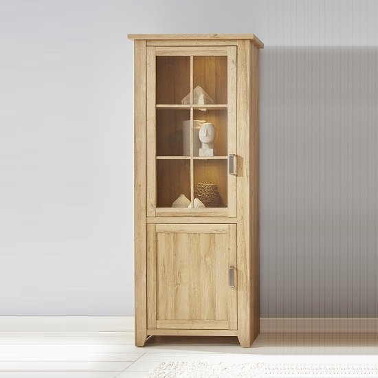 Berger Display Cabinet In Rustic Oak With 2 Doors And LED