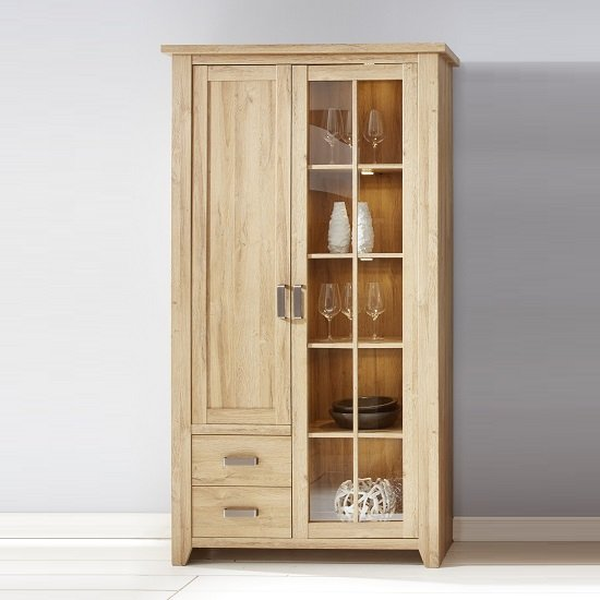 Berger Glass Display Cabinet In Rustic Oak With 2 Doors And LED