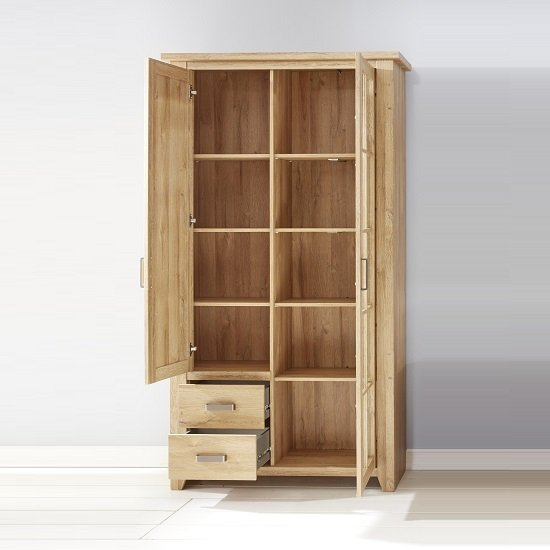 Berger Glass Display Cabinet In Rustic Oak With 2 Doors And LED_2