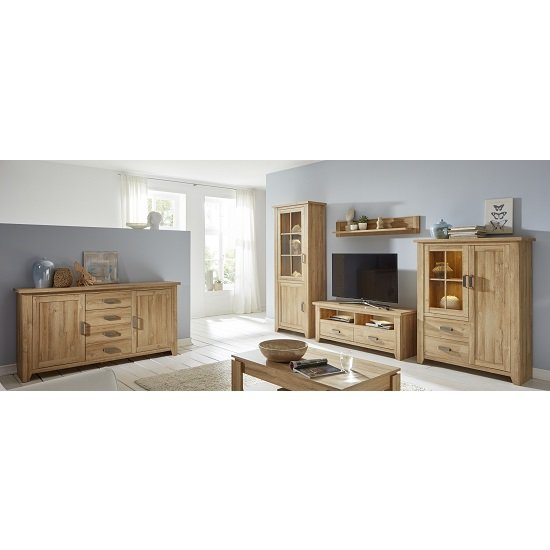 Berger Display Cabinet In Rustic Oak With 2 Doors And LED ...