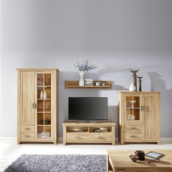 Berger Glass Display Cabinet In Rustic Oak With 2 Doors And LED_3