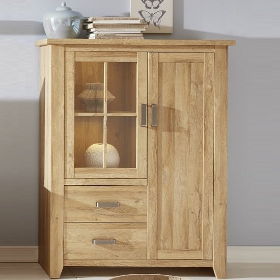 Berger Wide Display Cabinet In Rustic Oak With 2 Doors And LED