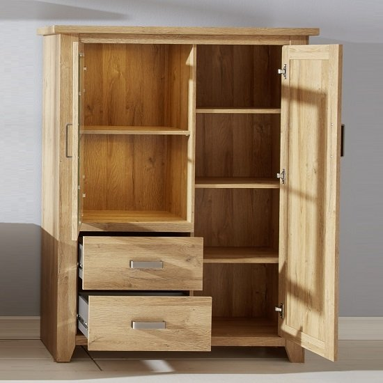 Berger Wide Display Cabinet In Rustic Oak With 2 Doors And LED_2