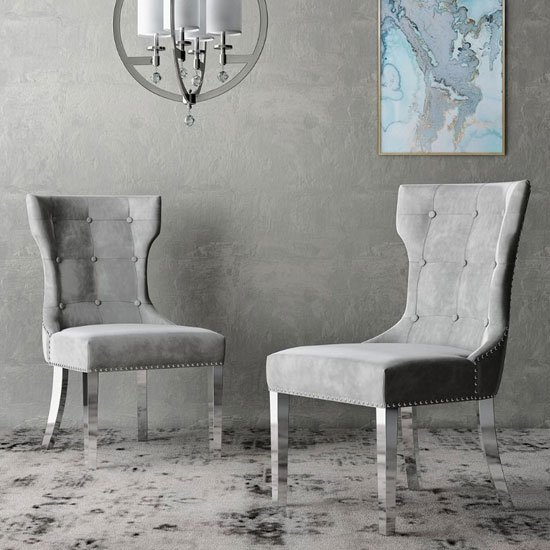Berit Cloudy Grey Leather Dining Chair With Silver Leg In Pair