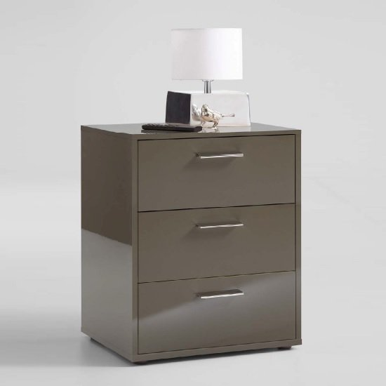 Berkley Bedside Cabinet In Lava High Gloss With 3 Drawers