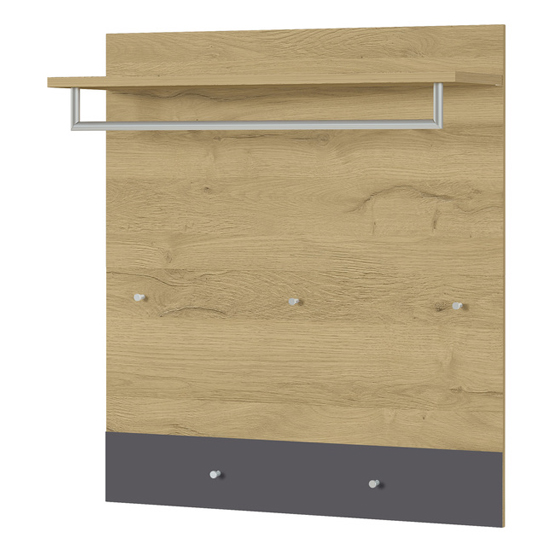 Berlebeck Coat Rack Panel In Grandson Oak And Graphite