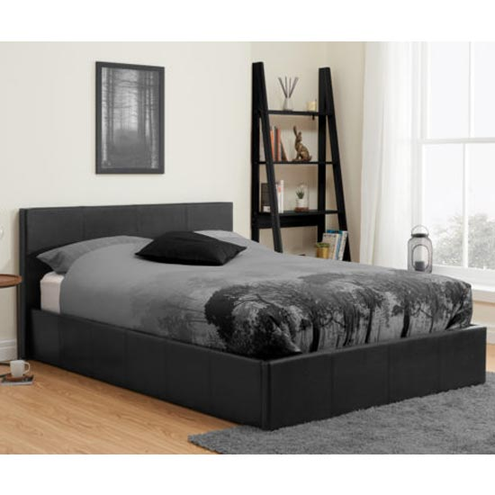 Berlin Fabric Ottoman Double Bed In Black