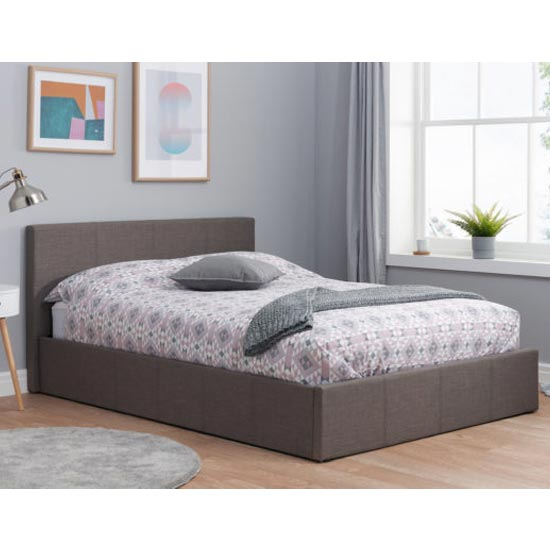 Berlin Fabric Ottoman King Size Bed In Grey